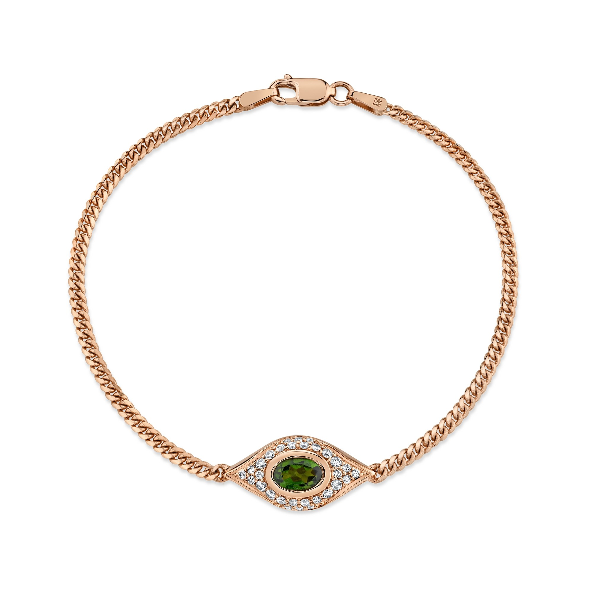 14k Rose Gold Diamond Oval Green Tourmaline Evil Eye Bracelet