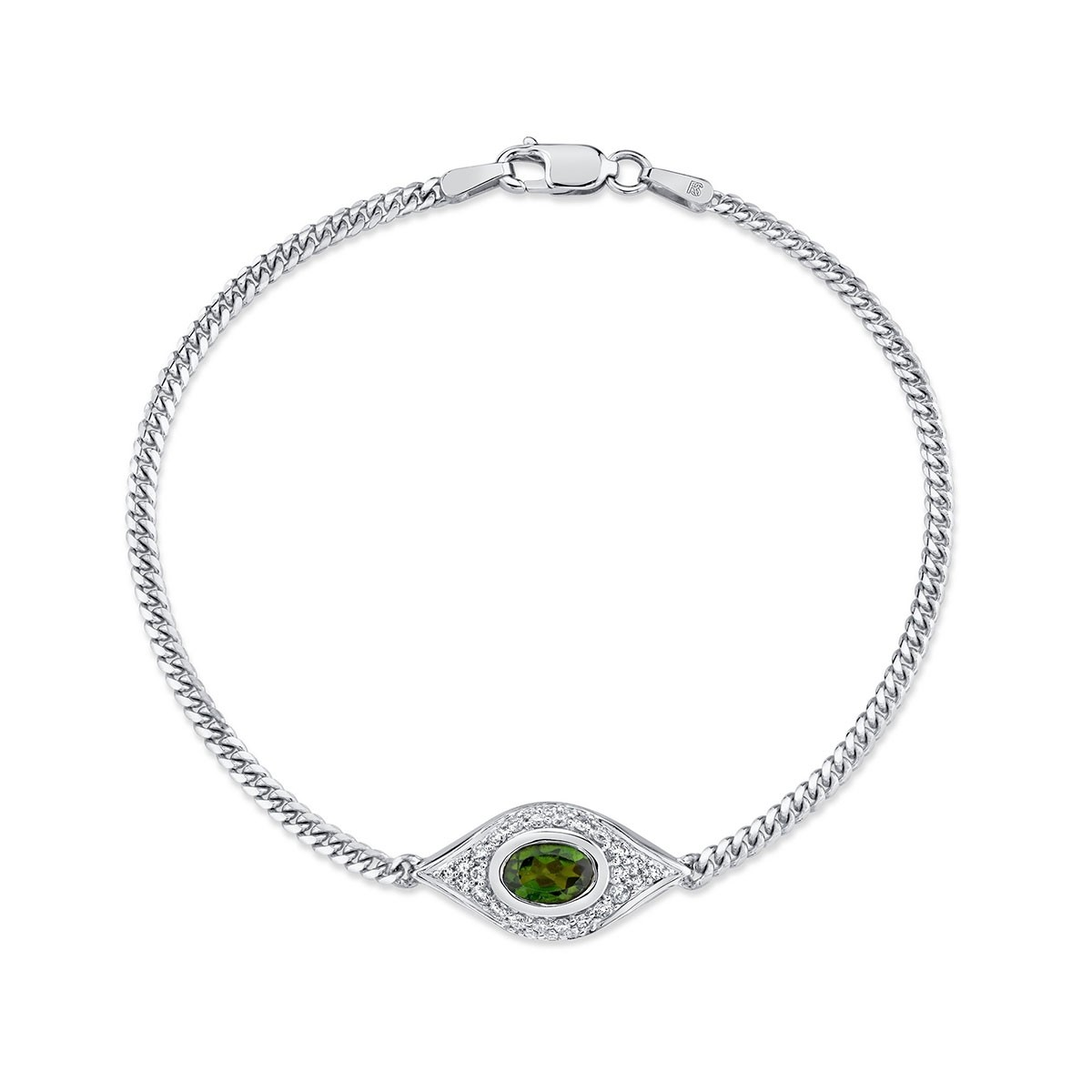 14k White Gold Diamond Oval Green Tourmaline Evil Eye Bracelet