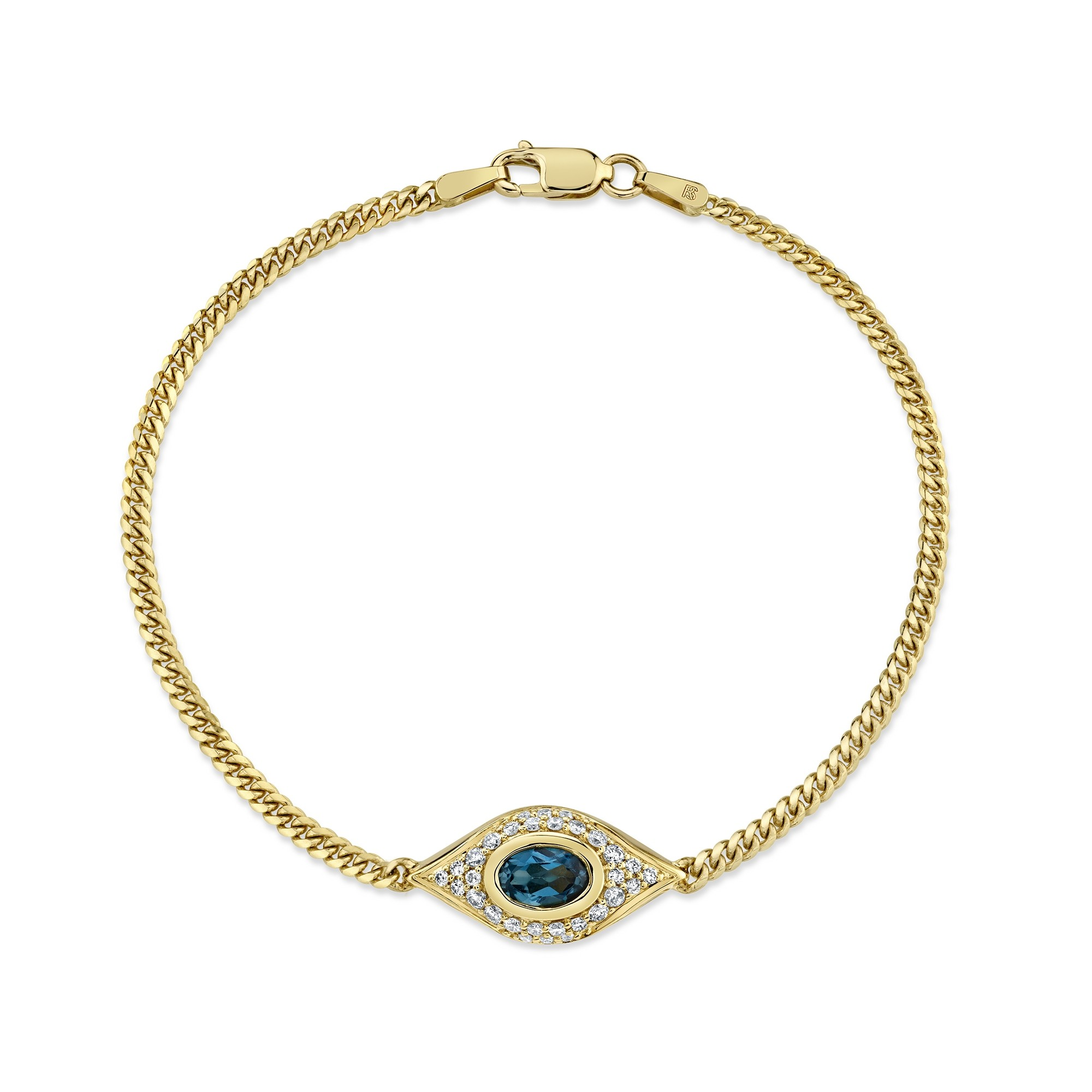 14k Yellow Gold Diamond Oval Blue Topaz Evil Eye Bracelet