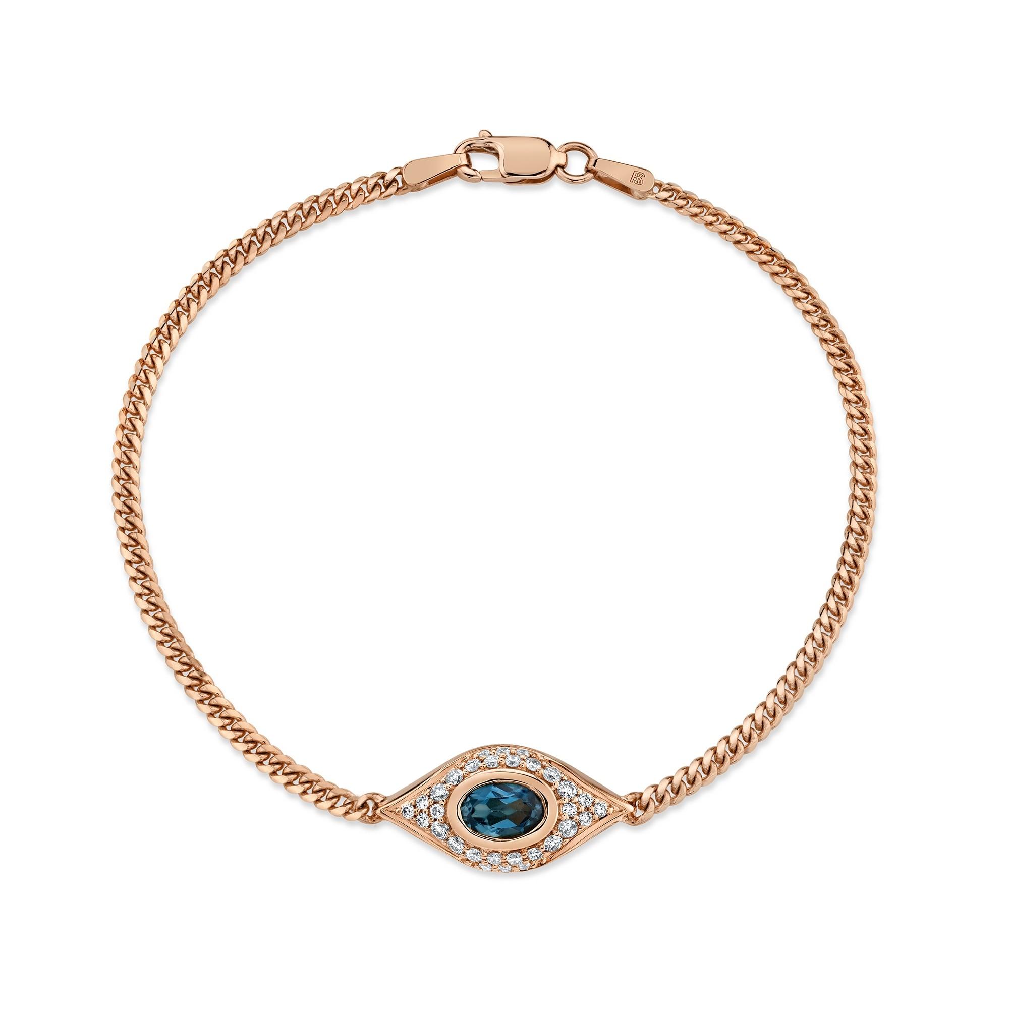 14k Rose Gold Diamond Oval Blue Topaz Evil Eye Bracelet
