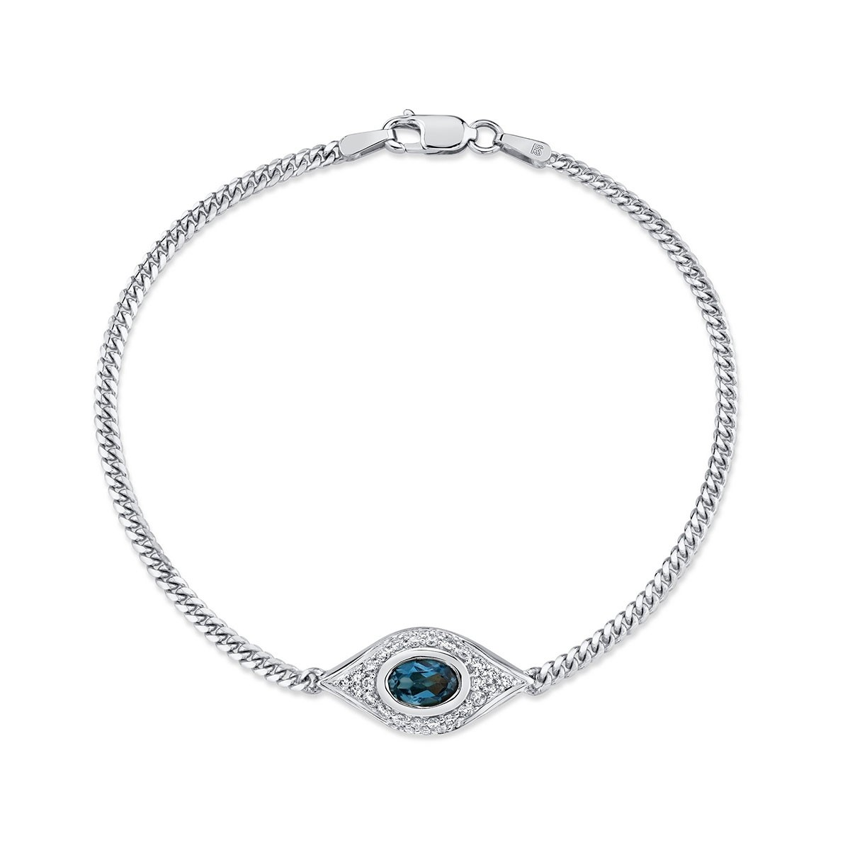 14k White Gold Diamond Oval Blue Topaz Evil Eye Bracelet
