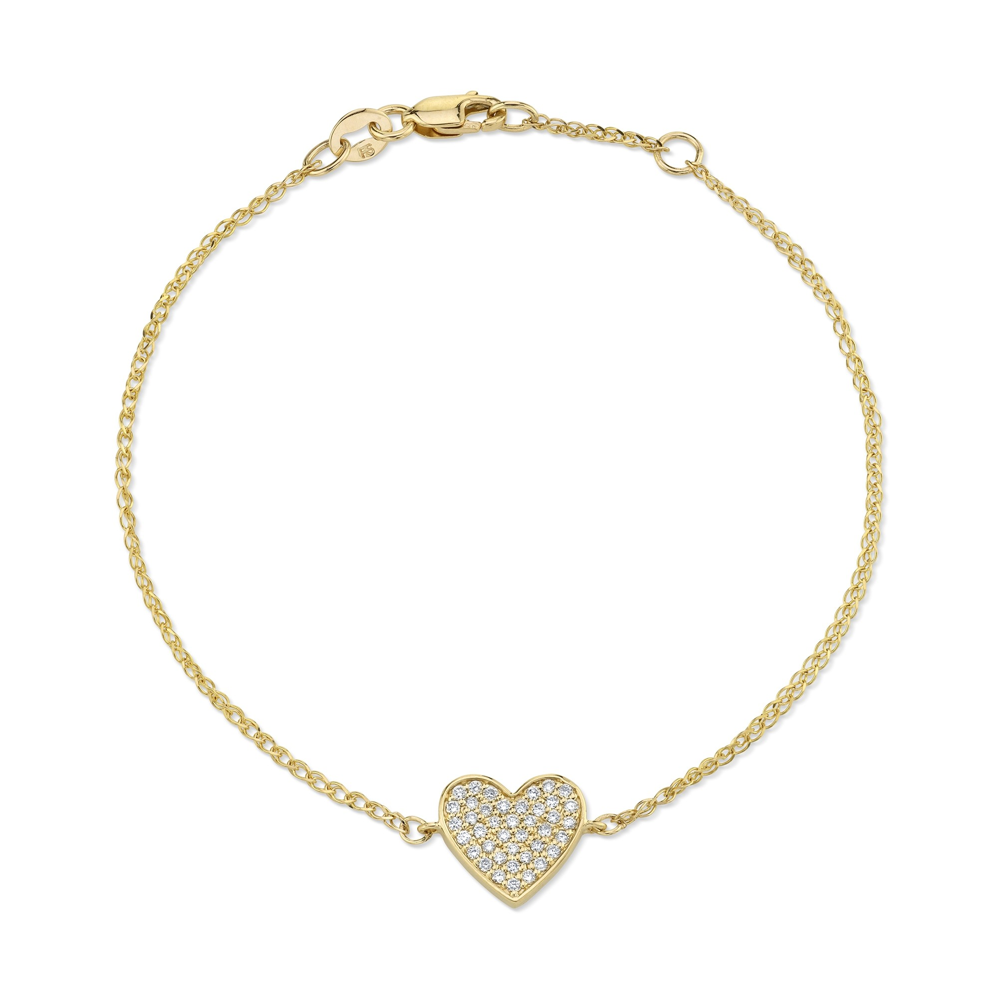 Kids' 14k Yellow Gold Diamond Floating Heart Bracelet