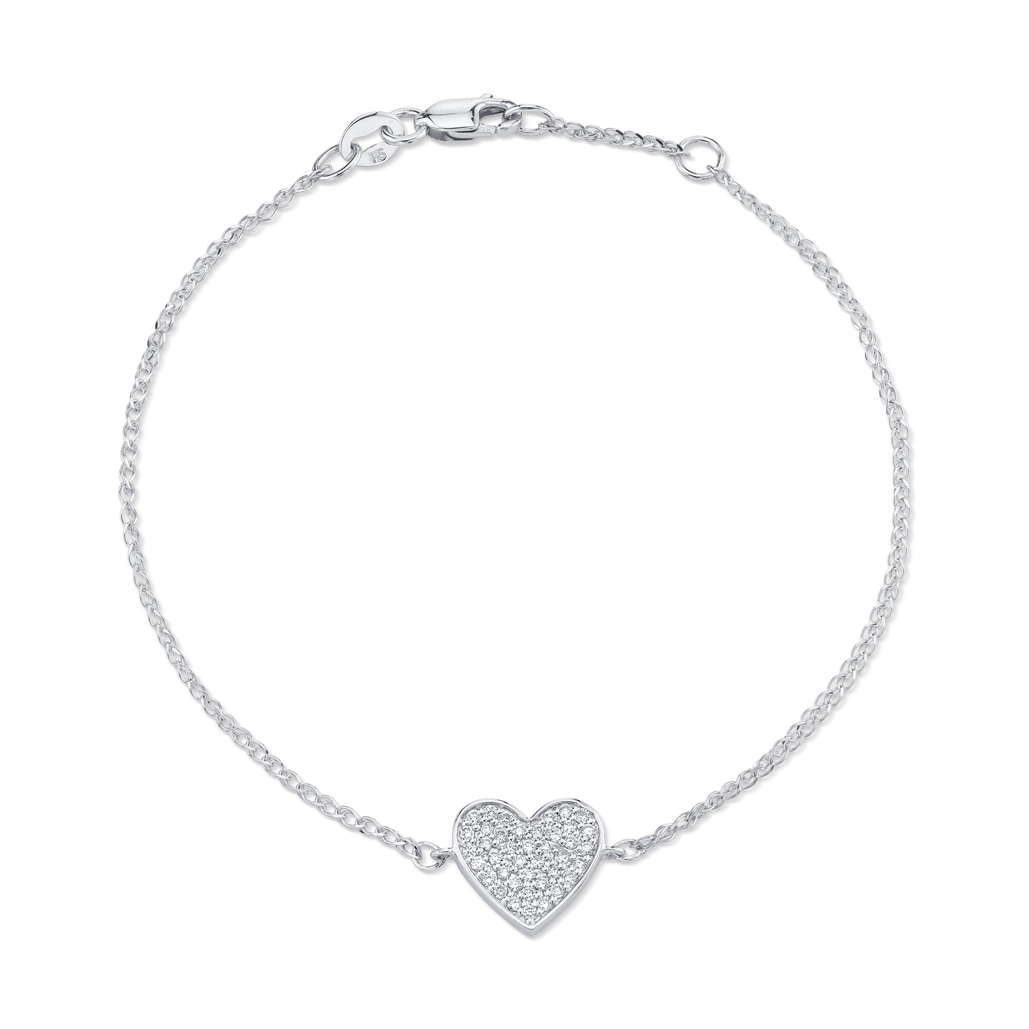 14k White Gold Diamond Floating Heart Bracelet