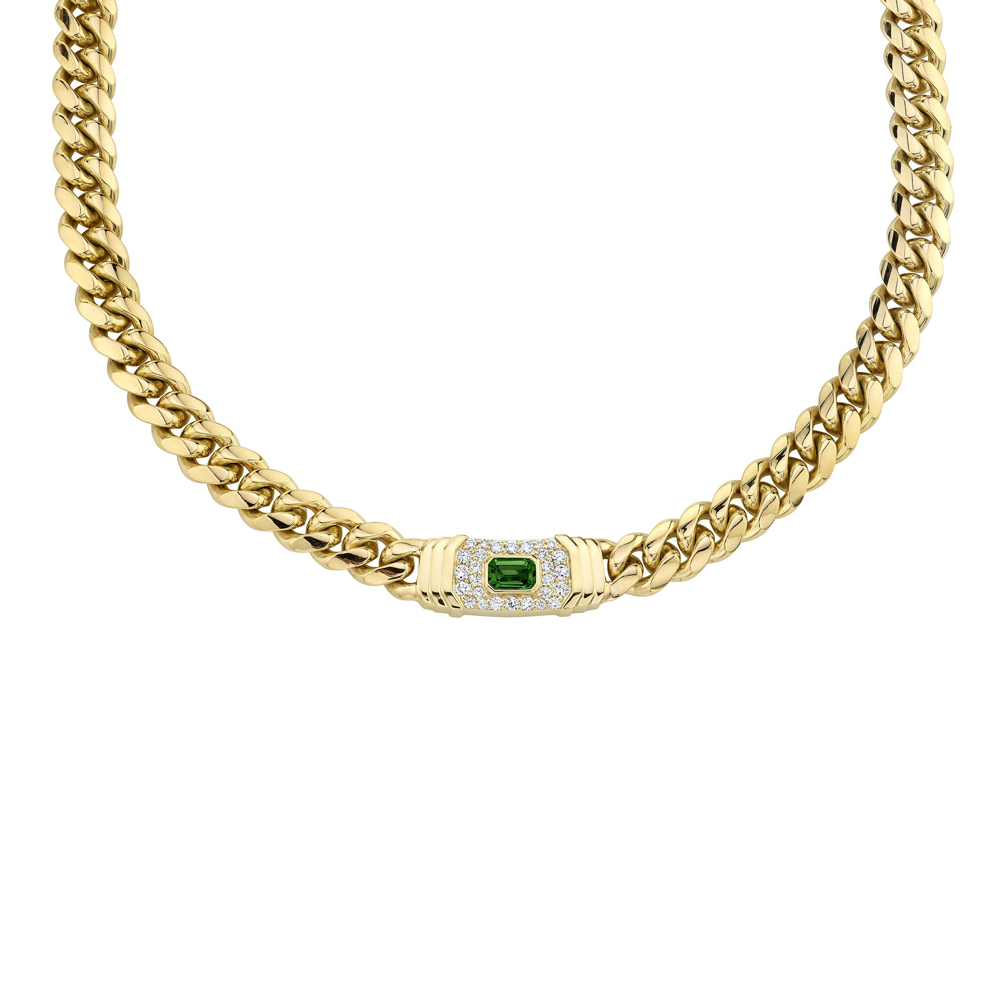 14k Yellow Gold Diamond Green Tourmaline Miami Cuban Link Necklace