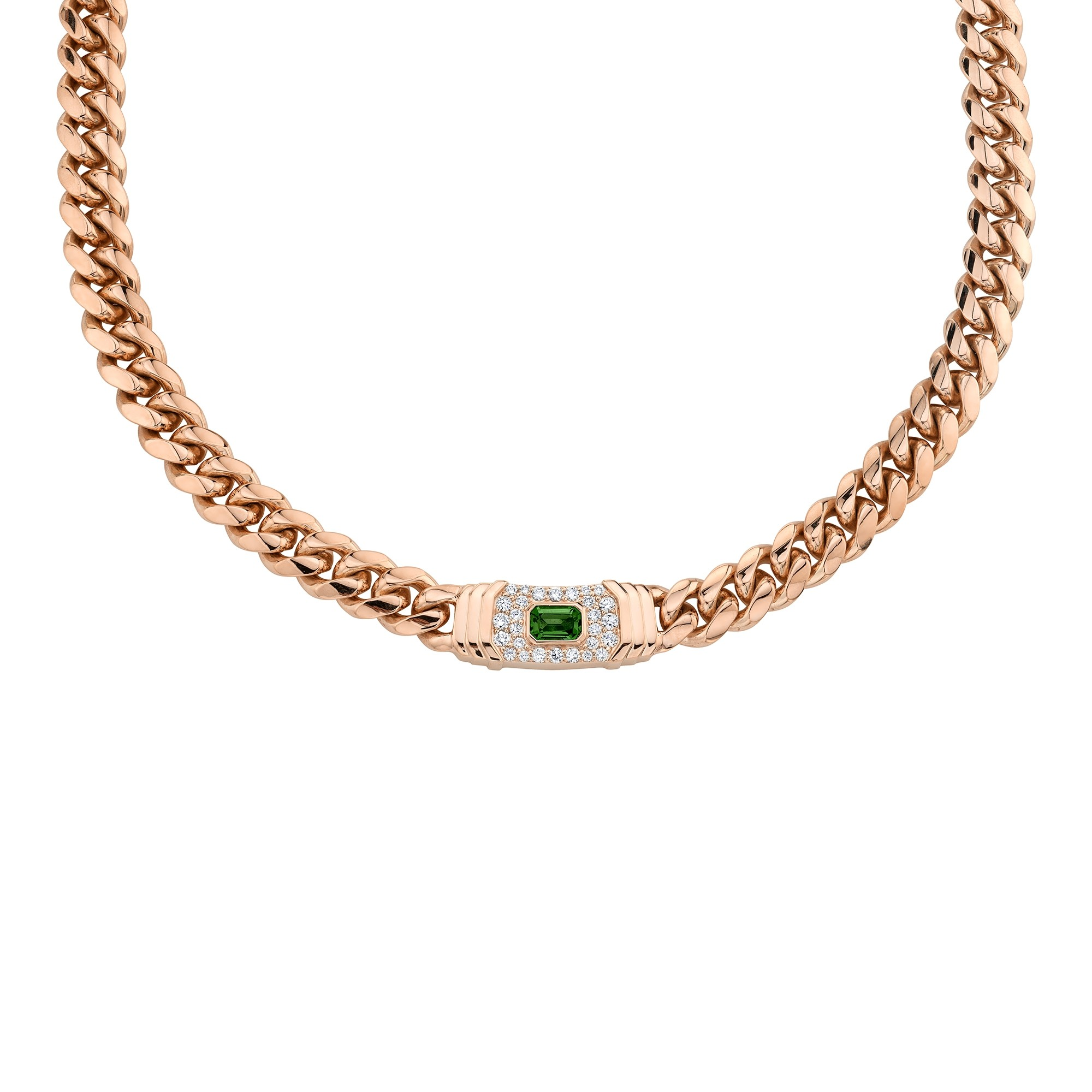 14k Rose Gold Diamond Green Tourmaline Miami Cuban Link Necklace