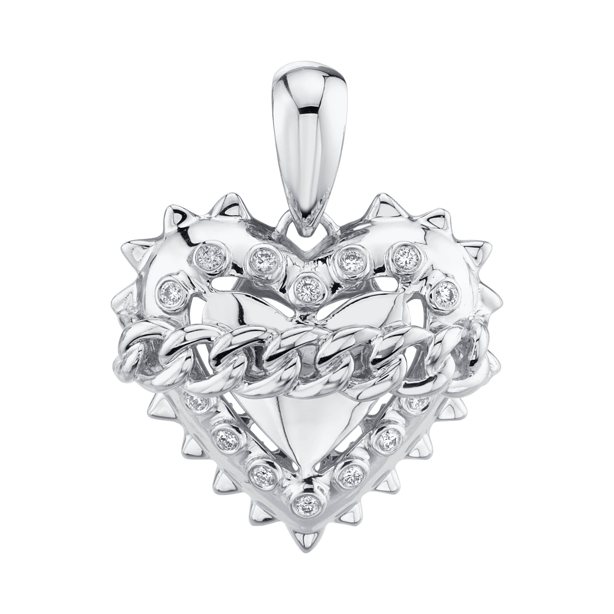 14k White Gold Diamond Link Chain Heart Charm