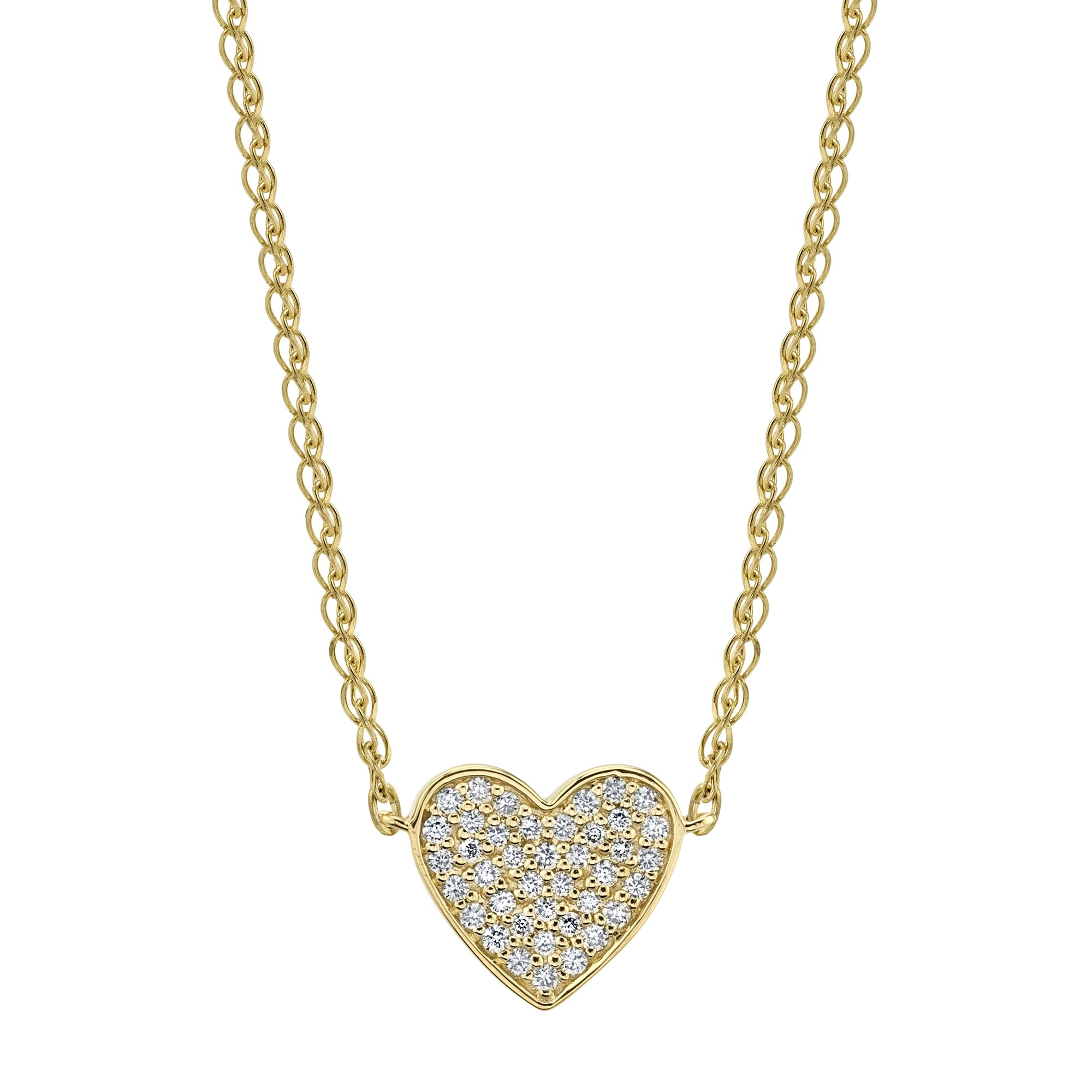 Kids' 14k Yellow Gold Diamond Floating Heart Necklace