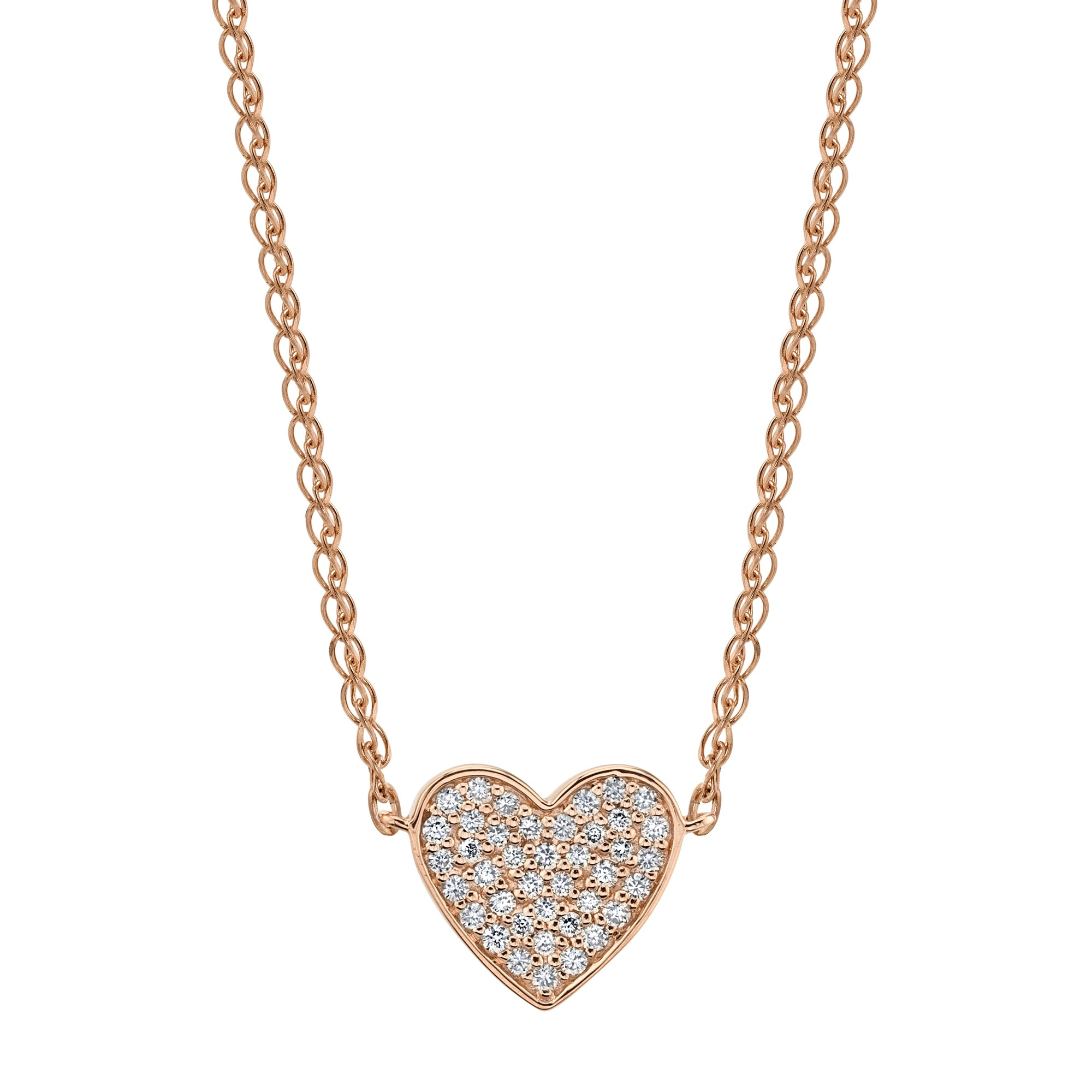 Kids' 14k Rose Gold Diamond Floating Heart Necklace