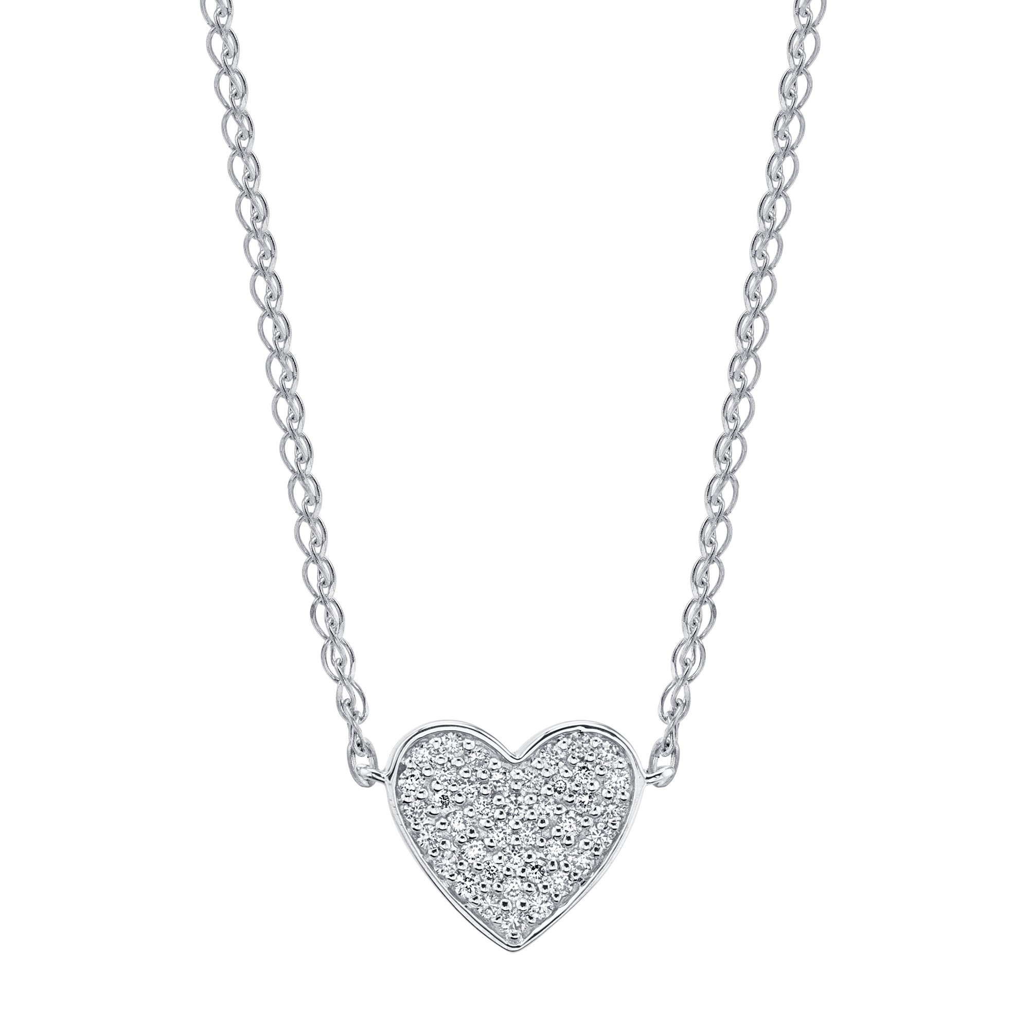 14k White Gold Diamond Floating Heart Necklace
