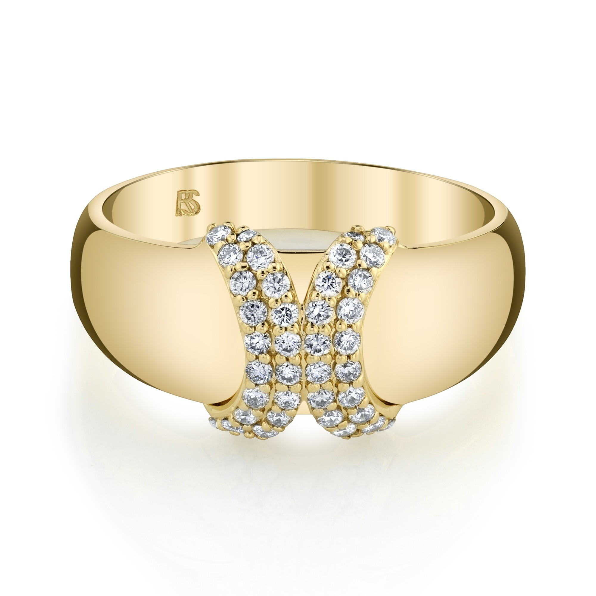 14k Yellow Gold Diamond Curved X Dome Ring