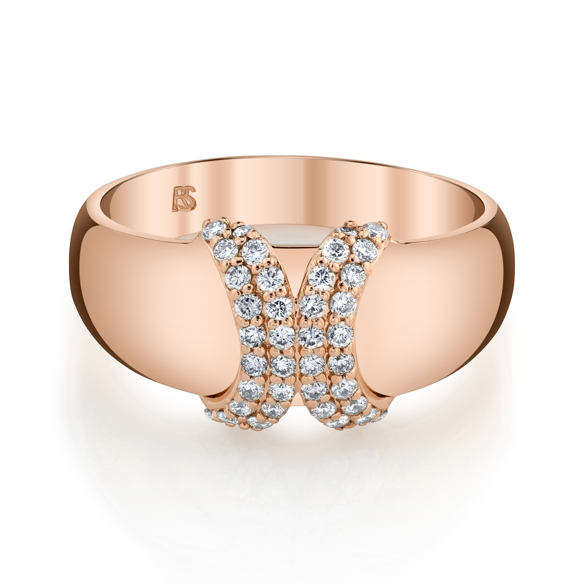 14k Rose Gold Diamond Curved X Dome Ring