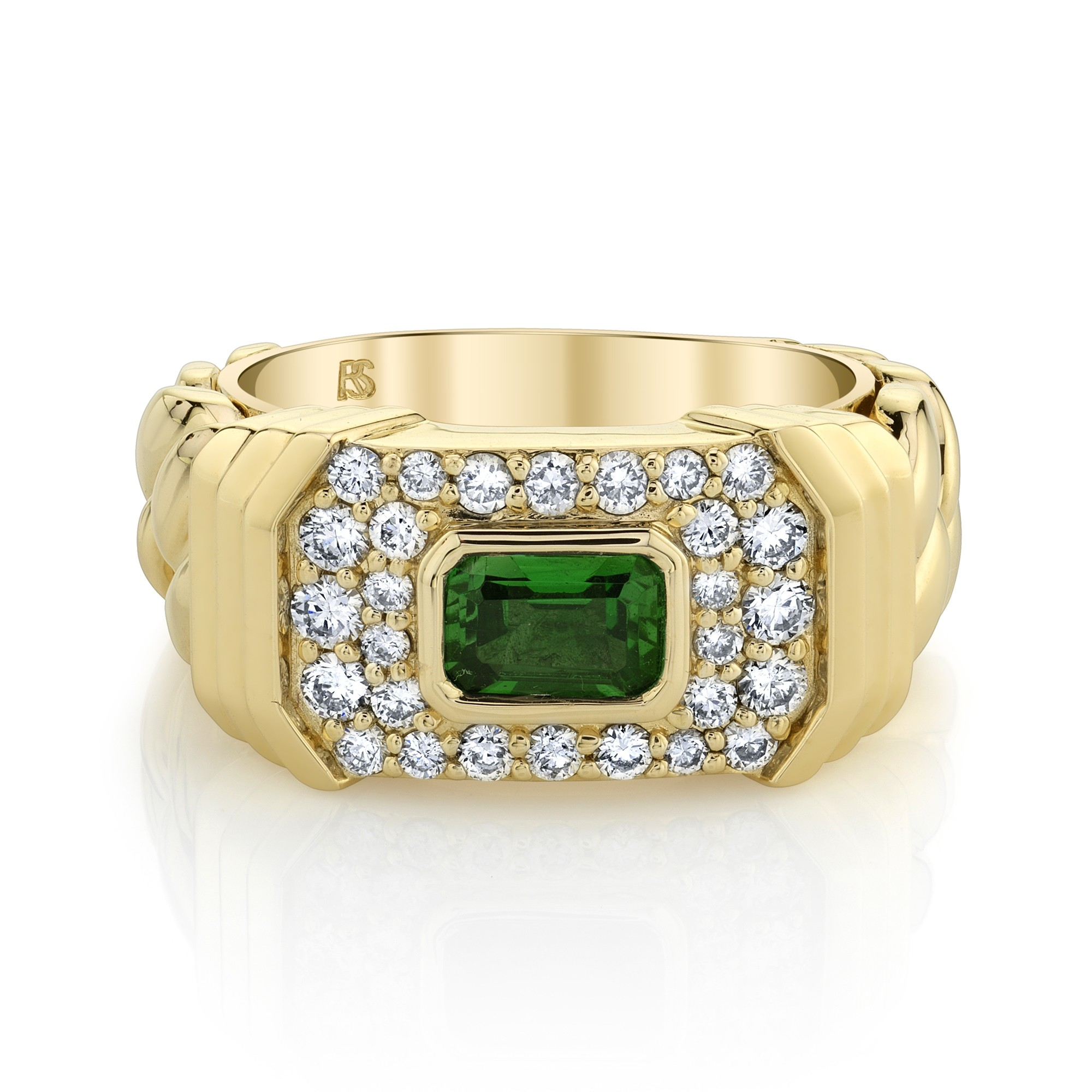 14k Yellow Gold Diamond Green Tourmaline Link Ring