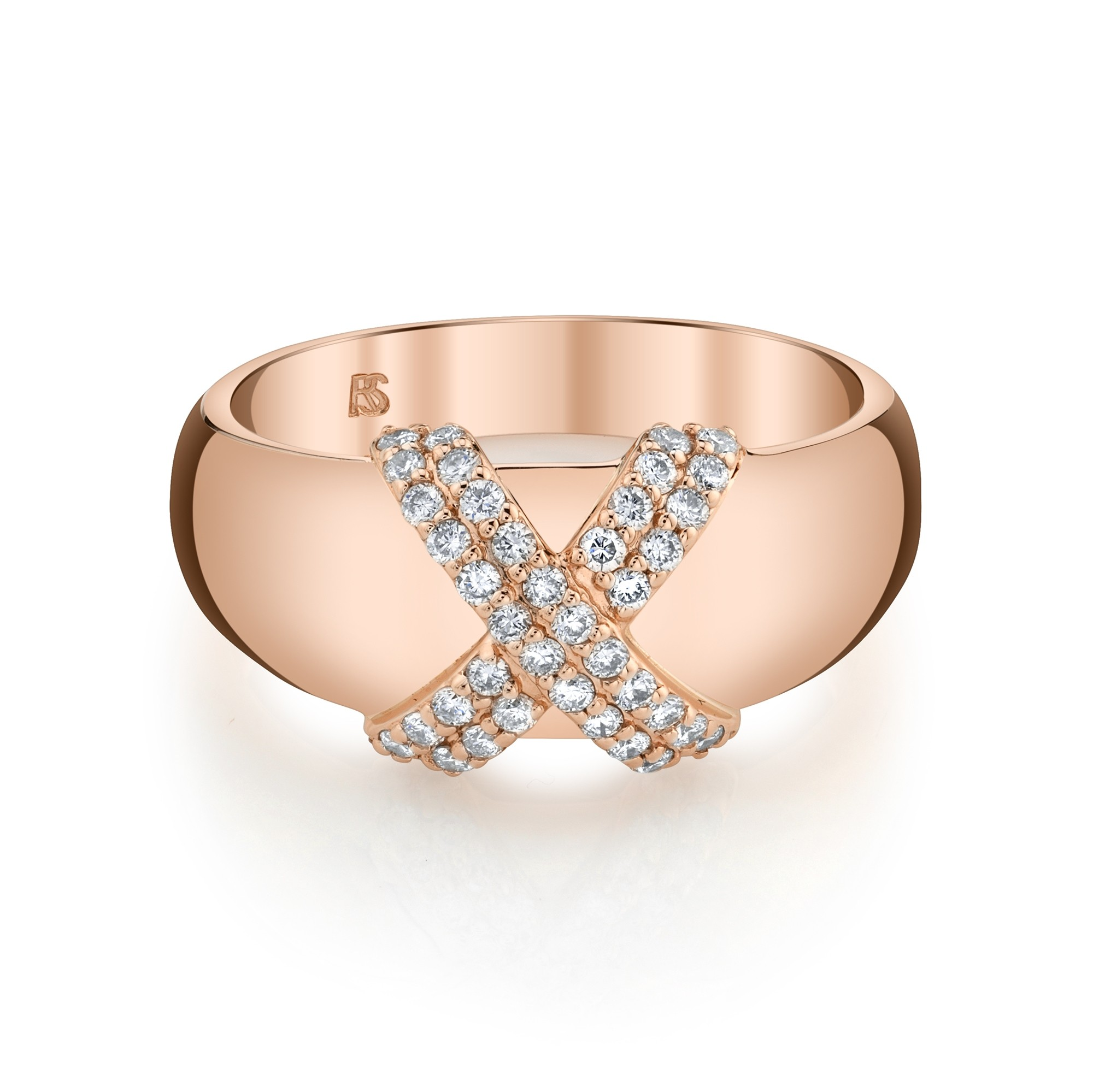 14k Rose Gold Diamond X Dome Ring