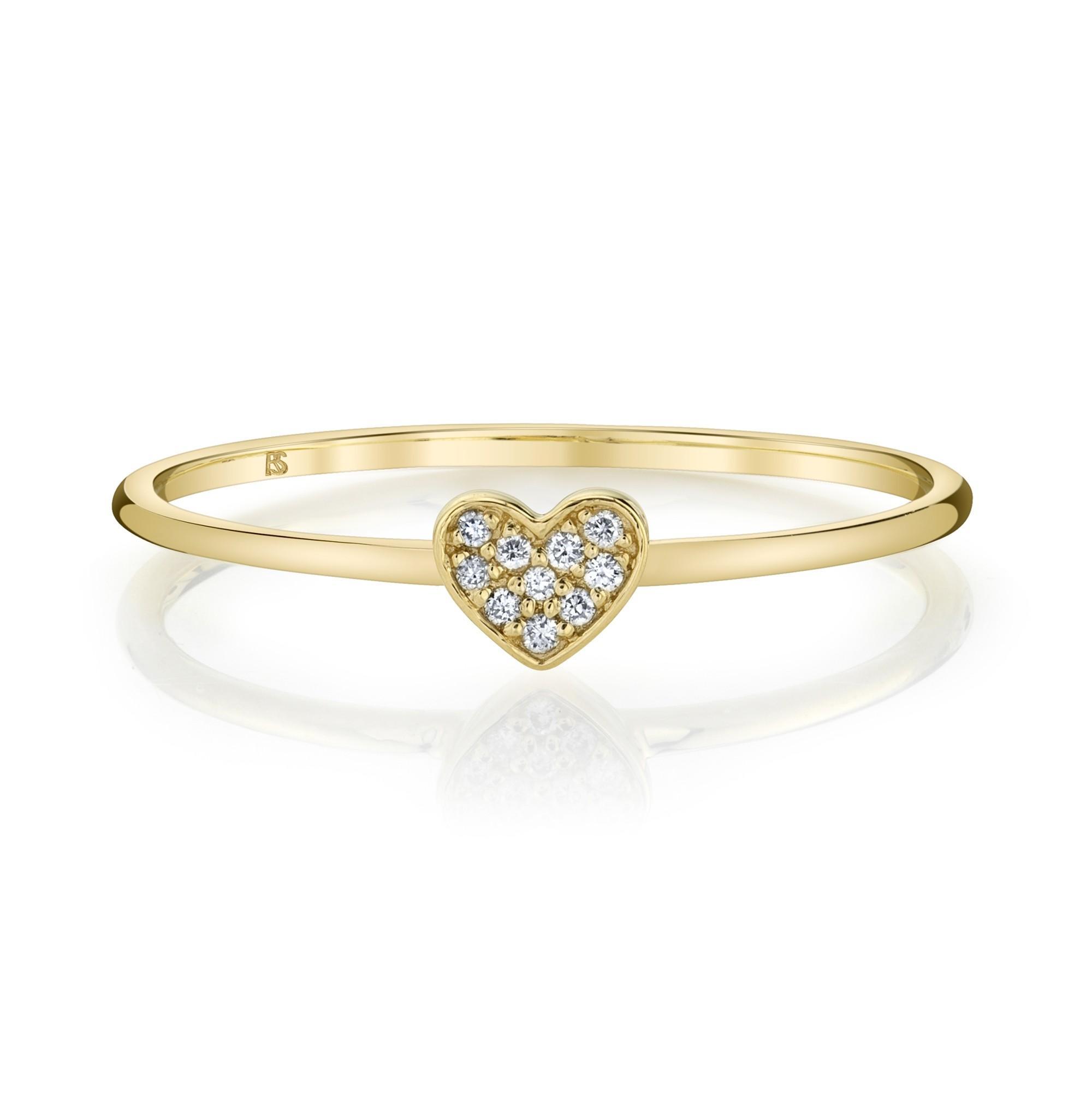 14k Yellow Gold Diamond Mini Heart Ring