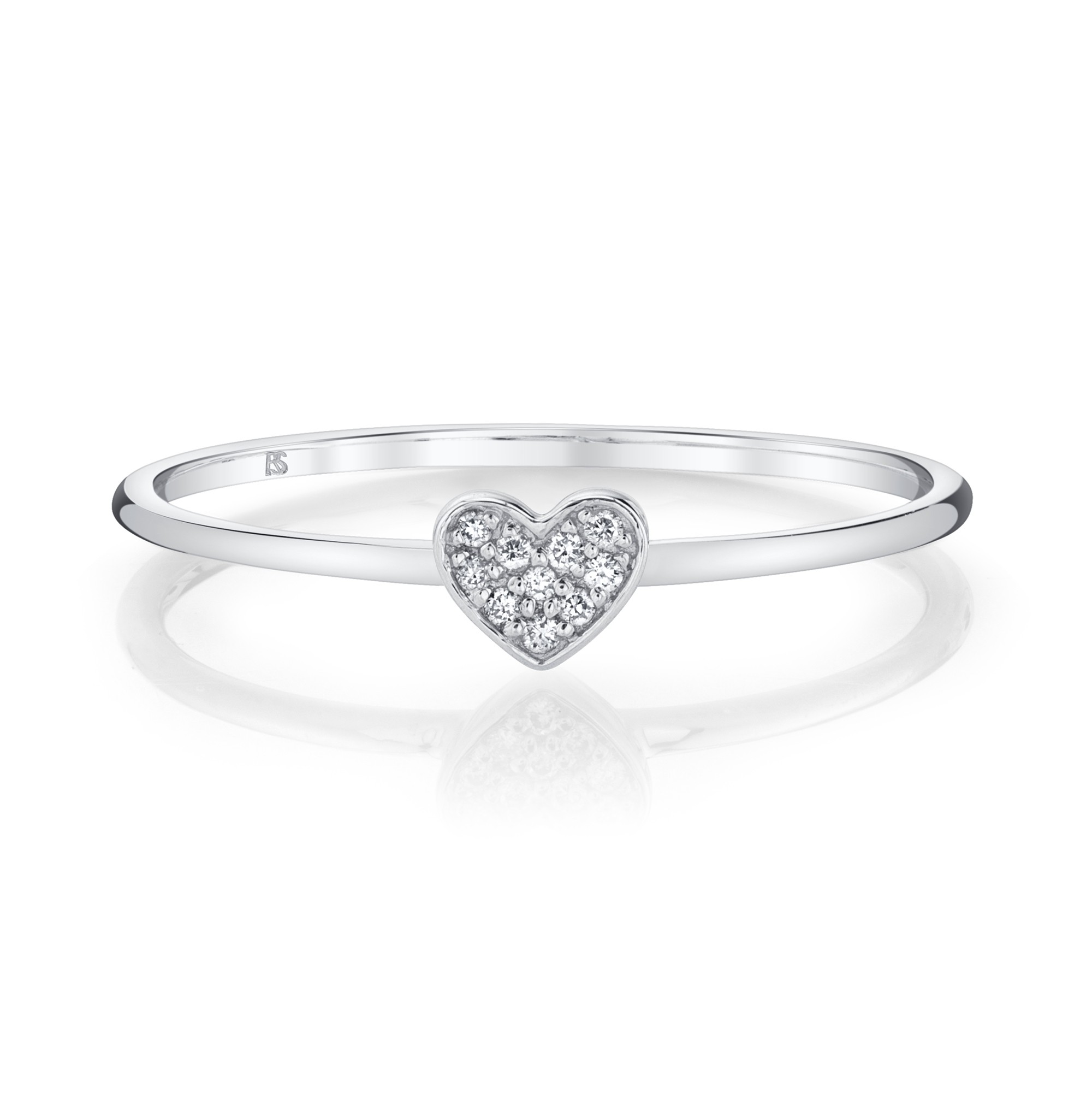 14k White Gold Diamond Mini Heart Ring