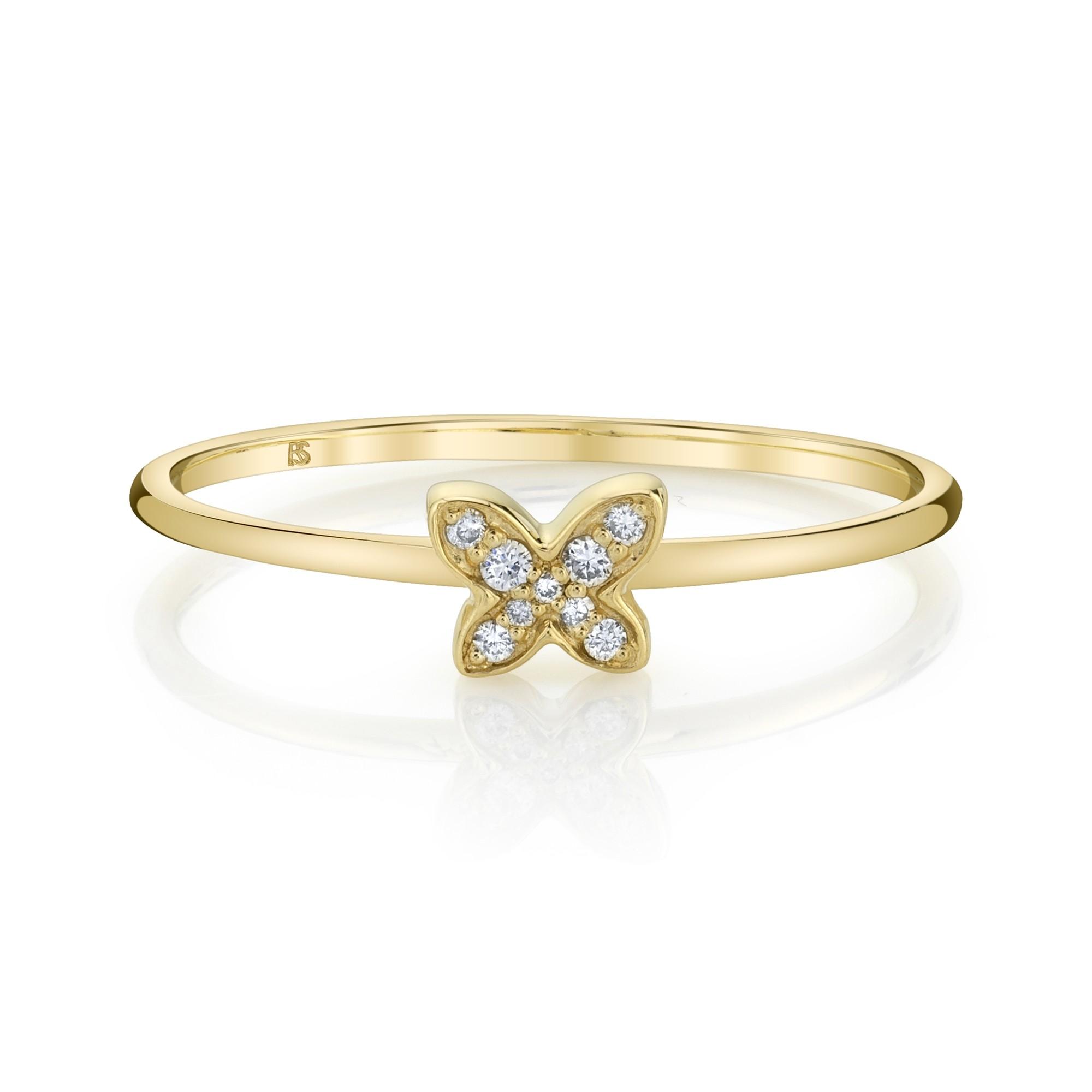 14k Yellow Gold Diamond Mini Butterfly Ring