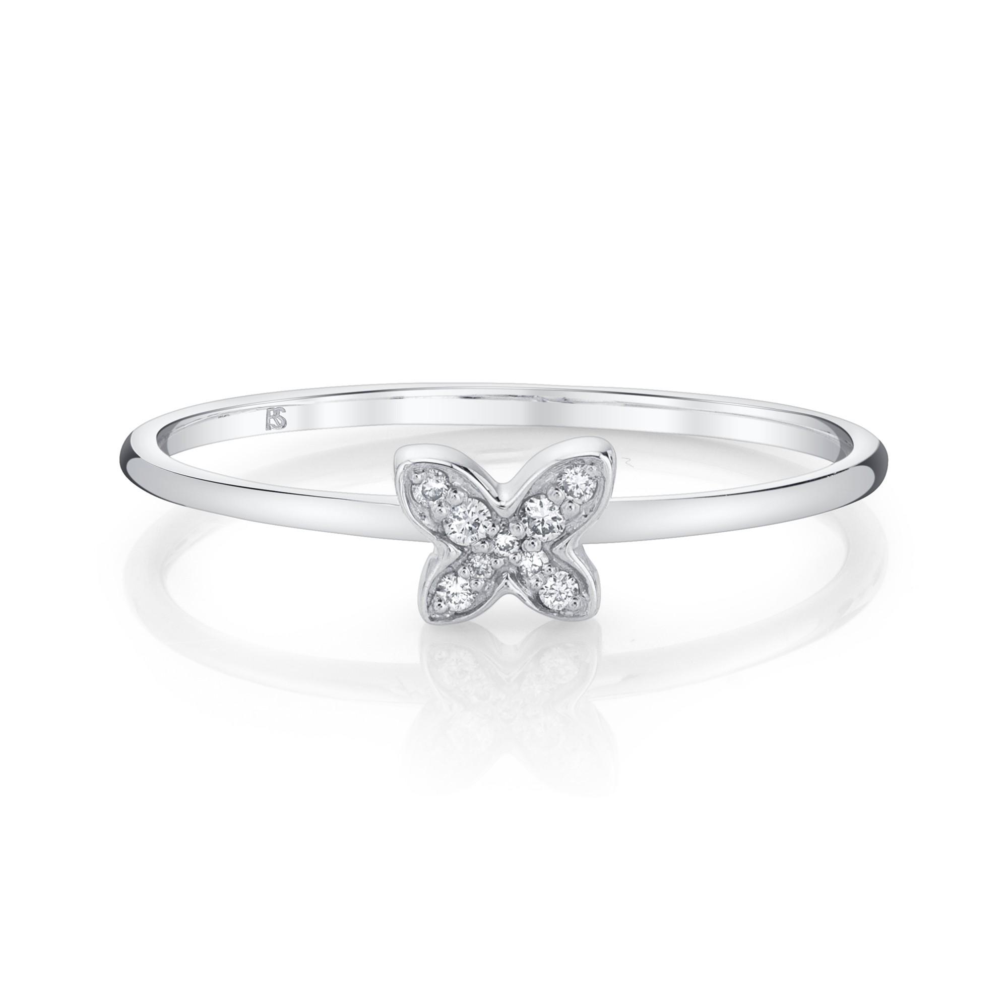 14k White Gold Diamond Butterfly Ring