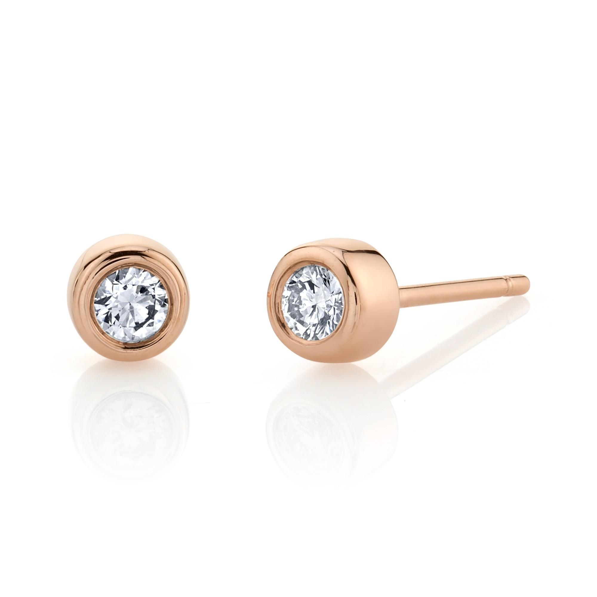 14k Rose Gold Bezel Set Diamond Stud Earrings