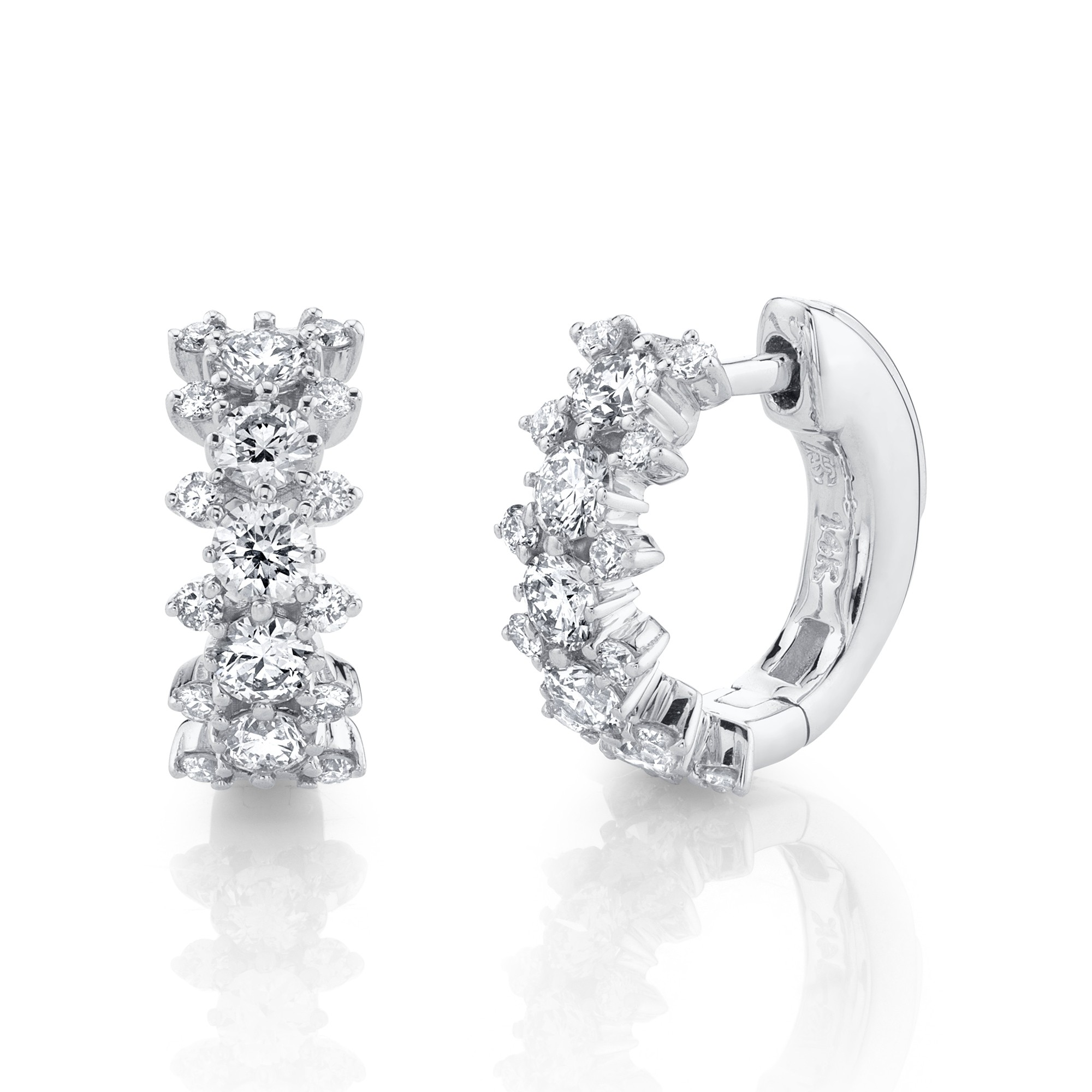 14k White Gold 3 Row Diamond Huggie Hoops with Security Latch