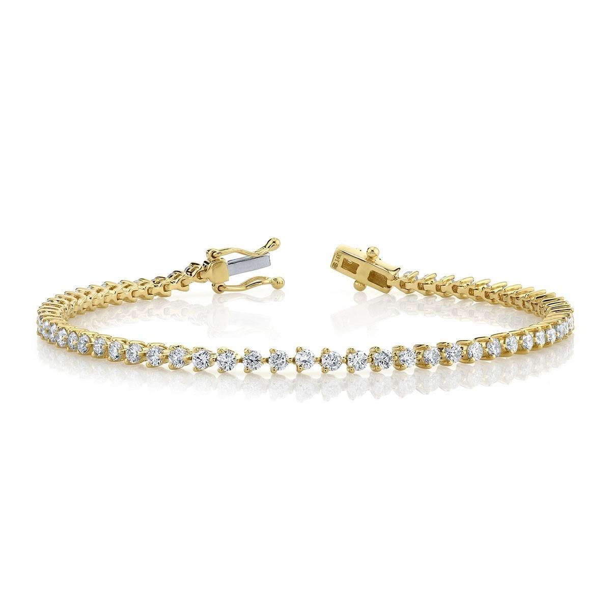 14k Yellow Gold 3 Prong 2.5CT Diamond Tennis Bracelet