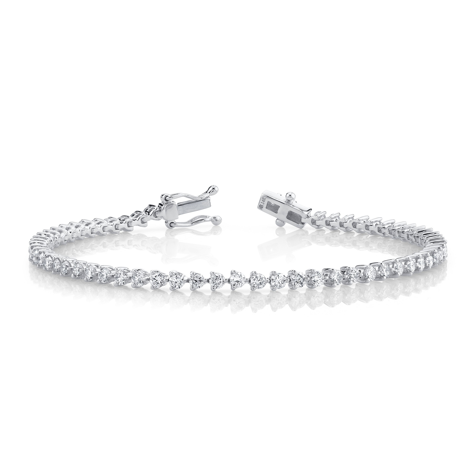14k White Gold 3 Prong 2.5CT Diamond Tennis Bracelet