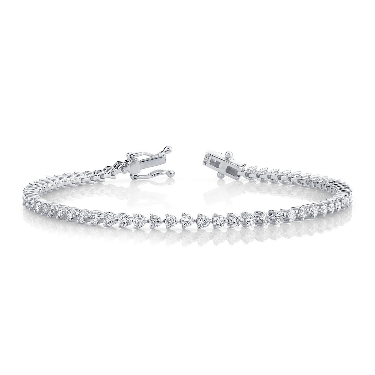 14k White Gold 3 Prong 2.5CT Diamond Tennis Bracelet