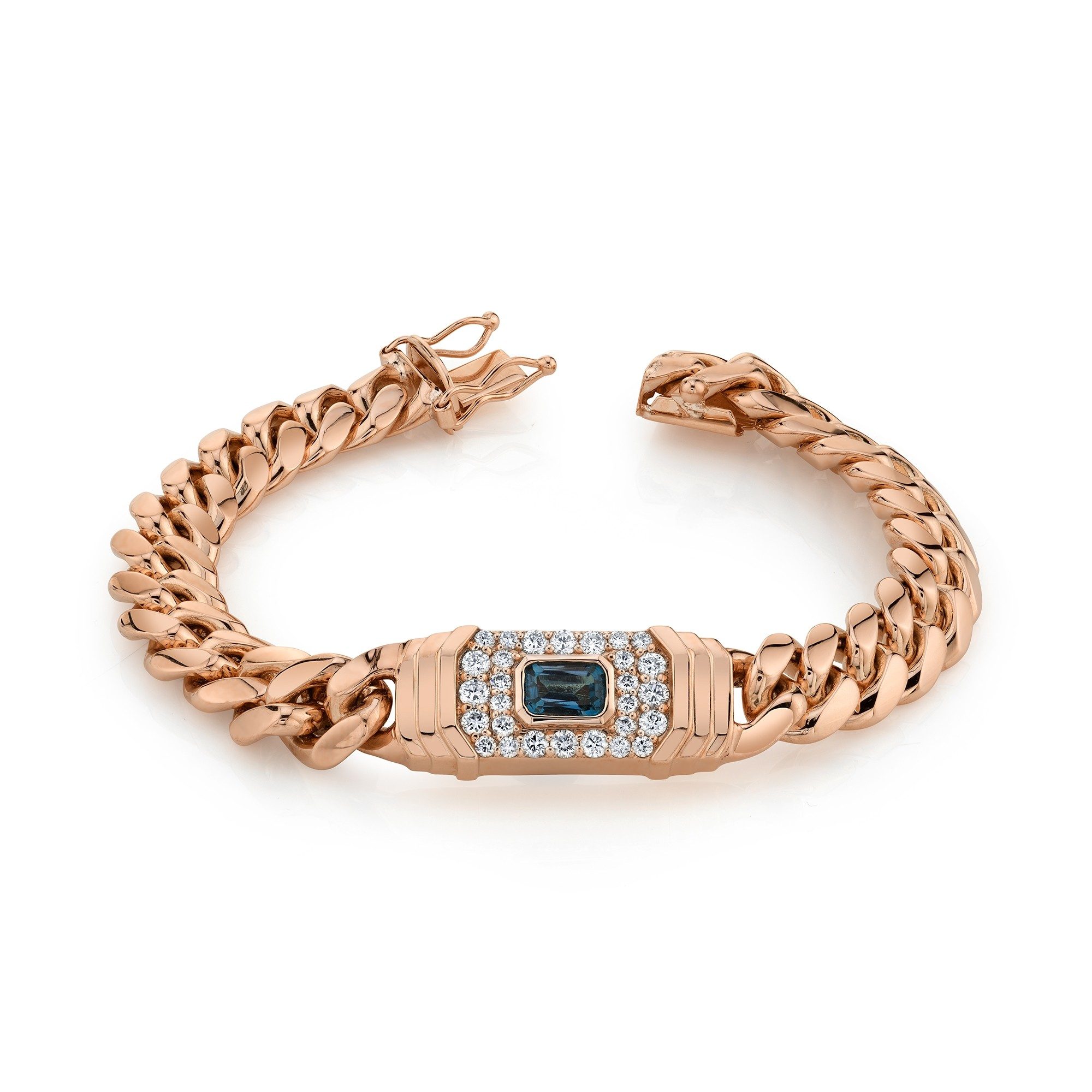 14k Rose Gold Diamond Blue Topaz Miami Cuban Link Bracelet