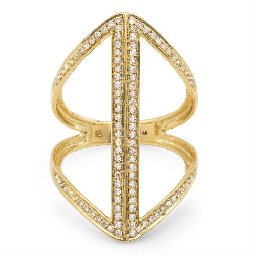 14k Yellow Gold Diamond Caged Bar Ring