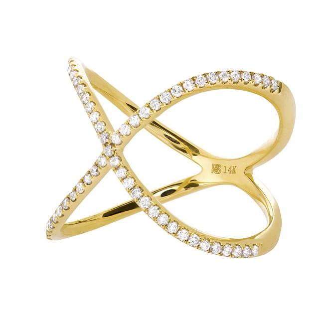 14k Yellow Gold Diamond Infinity X Ring