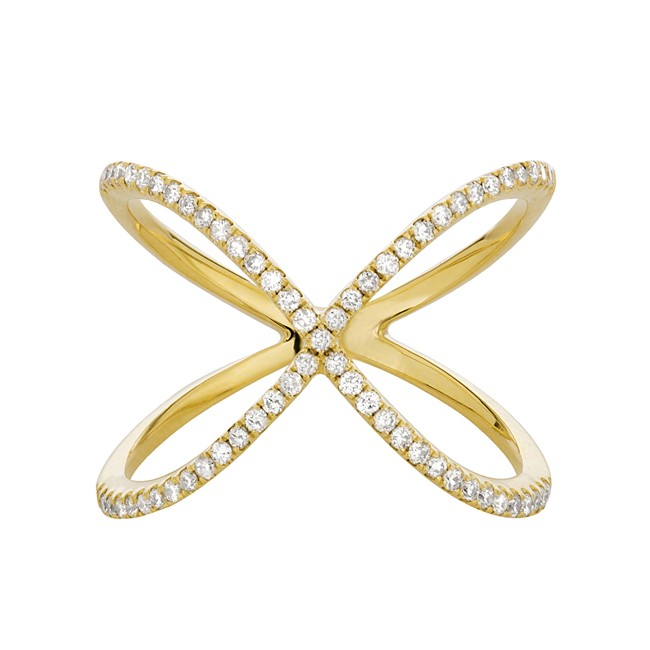 14k Yellow Gold Diamond X Ring