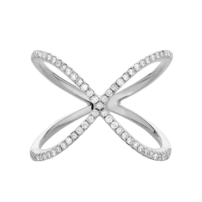 14k White Gold Diamond X Ring