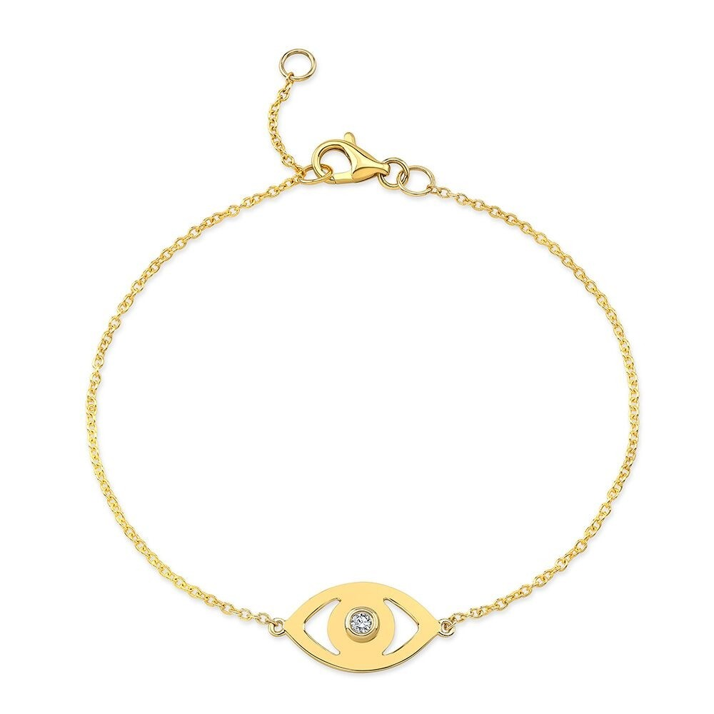 14k Yellow Gold Diamond Bezel Evil Eye Bracelet