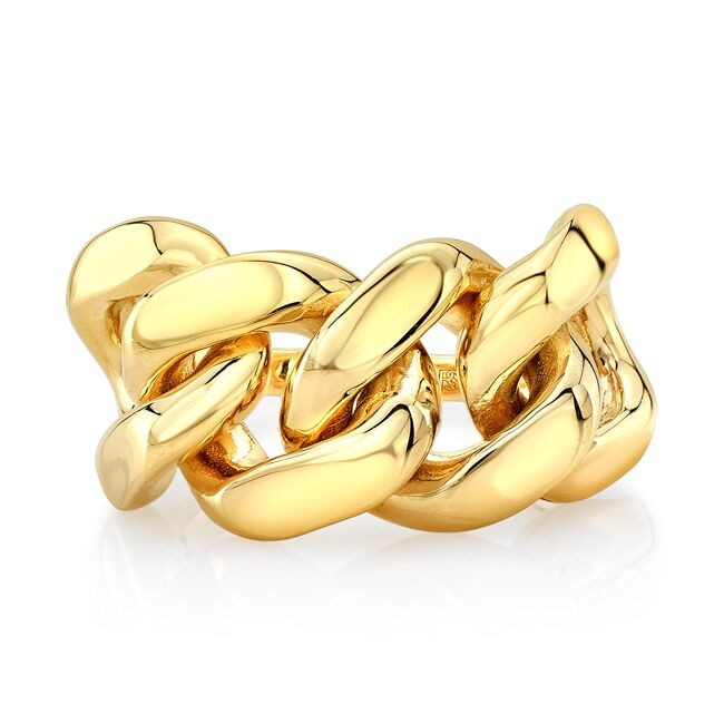 14k Yellow Gold Halfway Cuban Link Ring