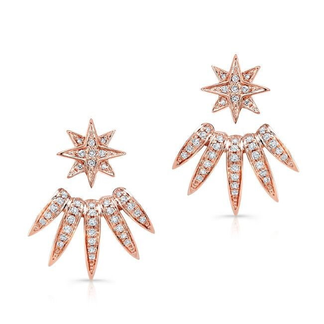 14k Rose Gold Diamond Spike Ear Jacket