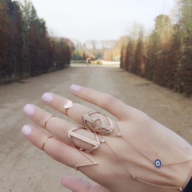 14k Rose Gold Floating Diamond Hand Chain