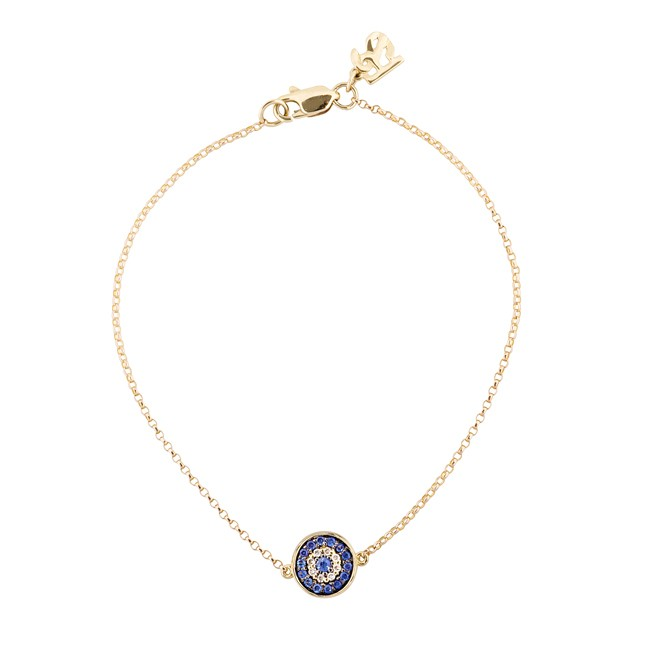 14k Yellow Gold Diamond Sapphire Evil Eye Disc Bracelet