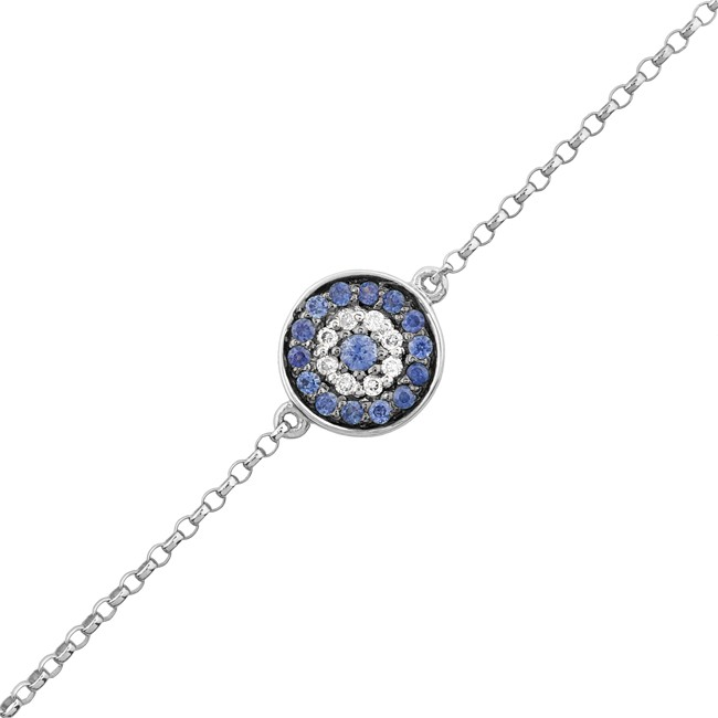 14k white gold diamond sapphire evil eye disc bracelet aloadofball Image collections