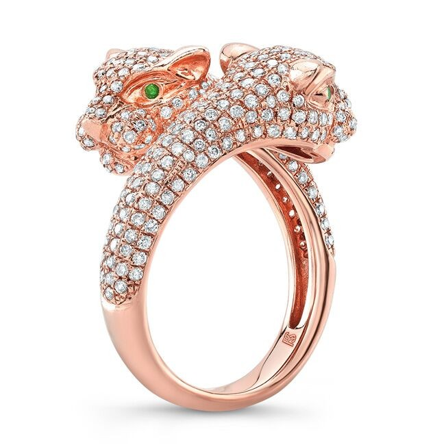 14k Rose Gold Diamond Emerald Panther Ring
