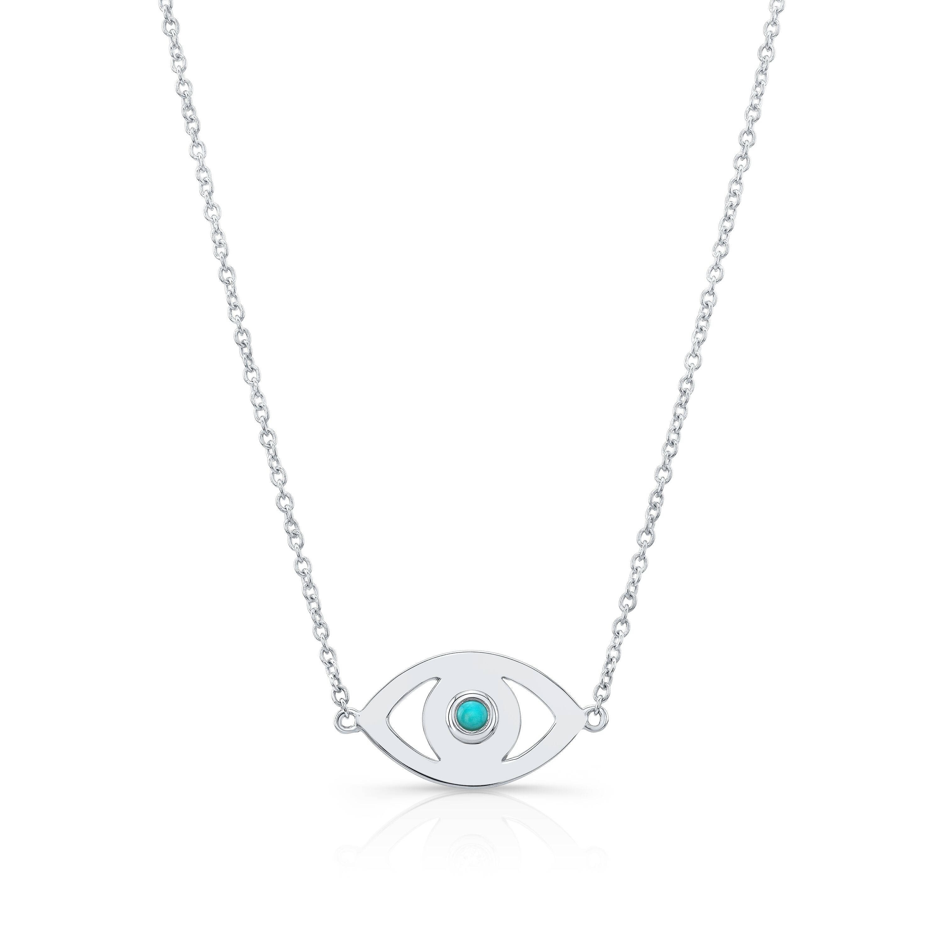 14k White Gold Turquoise Bezel Evil Eye Necklace