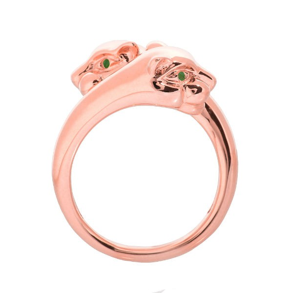 14k Rose Gold Emerald Panther Ring