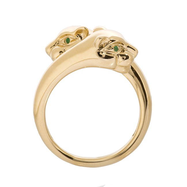 14k Yellow Gold Emerald Panther Ring