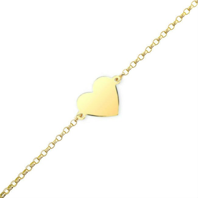 14k Yellow Gold Floating Heart Anklet