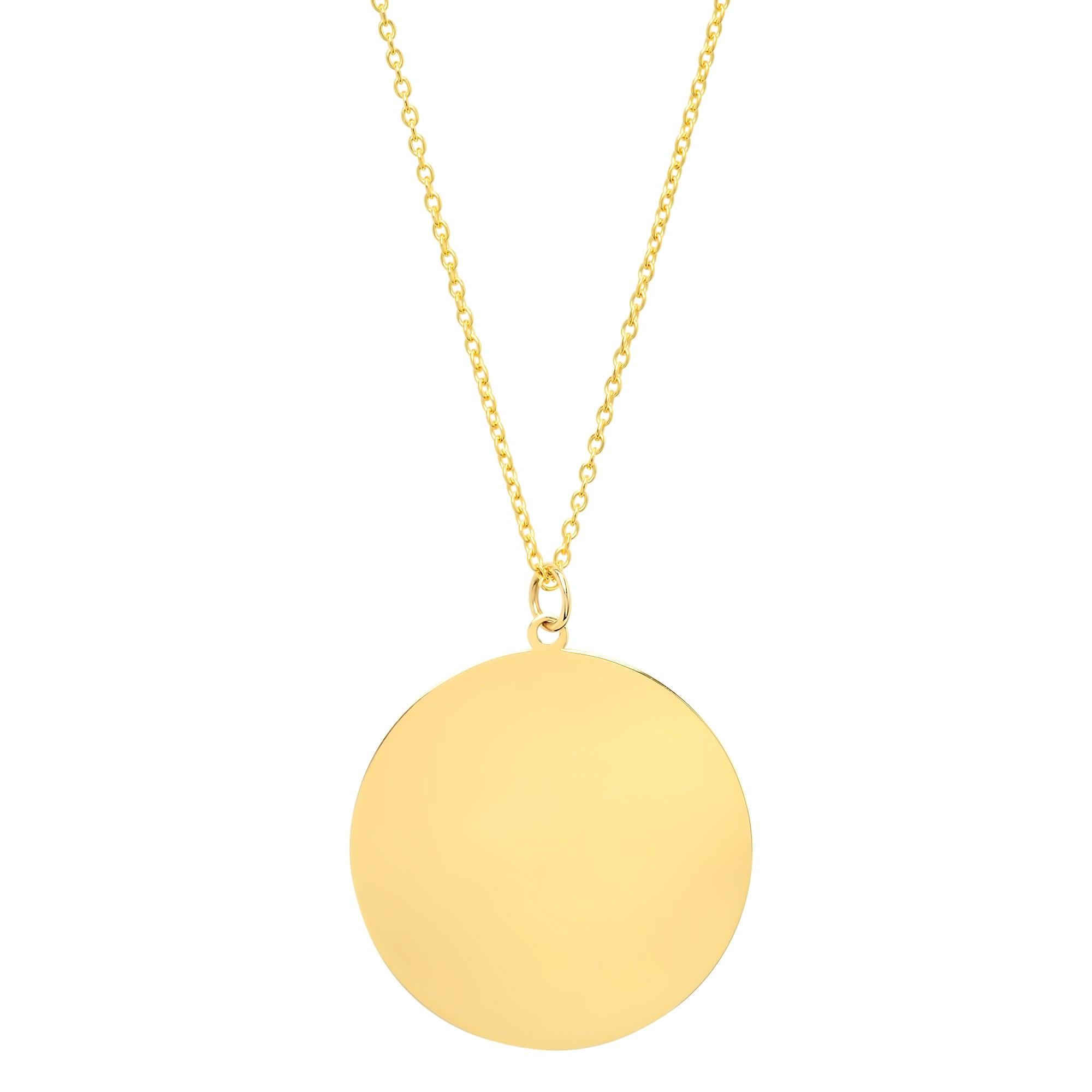 14k Yellow Gold Jumbo Disc Necklace