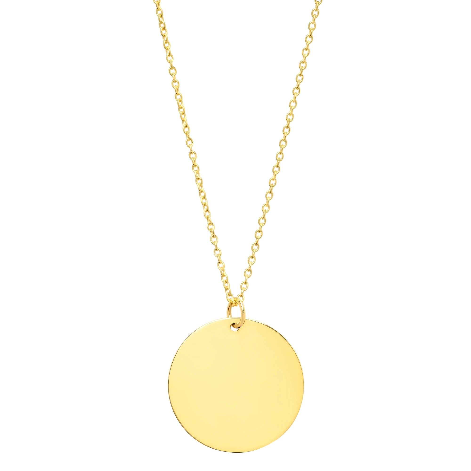 14k Yellow Gold Medium Disc Necklace