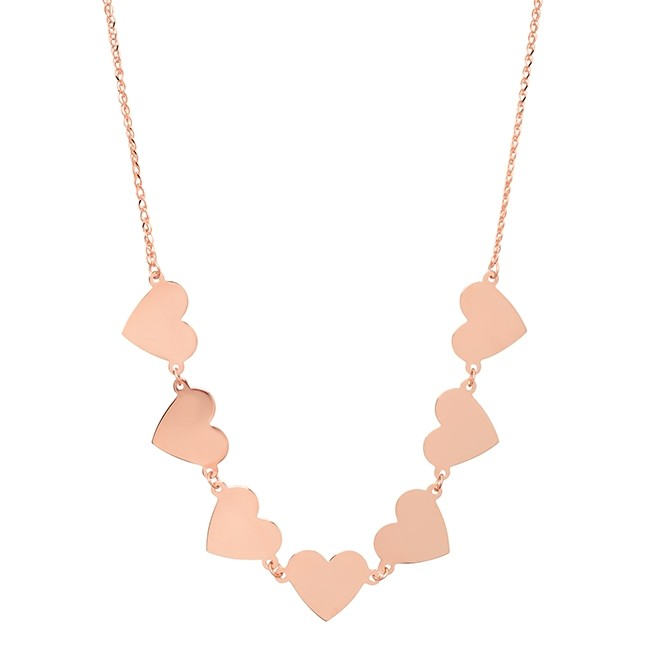 14k Rose Gold 7 Floating Heart Necklace