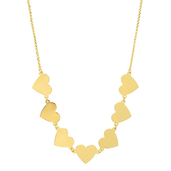 14k Yellow Gold 7 Floating Heart Necklace
