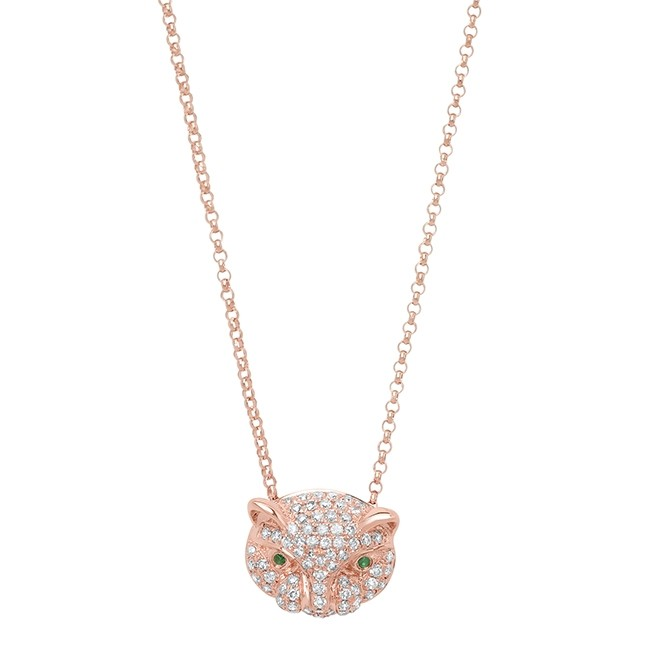 14k Rose Gold Diamond Emerald Panther Head Necklace