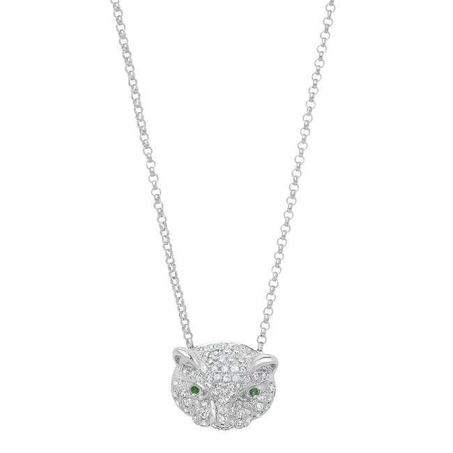 14k White Gold Diamond Emerald Panther Head Necklace