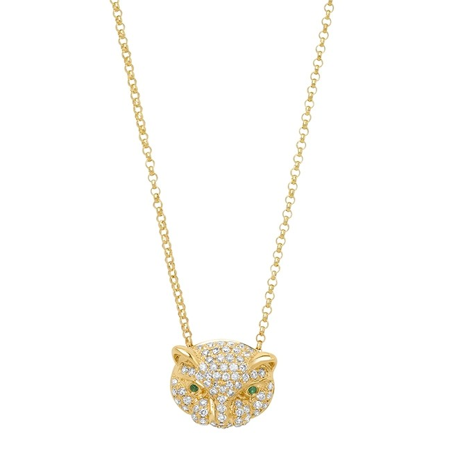 14k Yellow Gold Diamond Emerald Panther Head Necklace