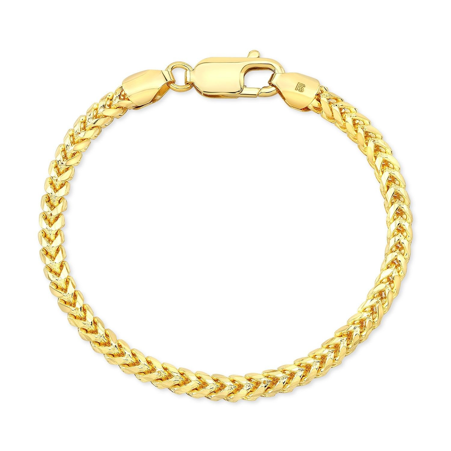 14k Yellow Gold Solid Franco Chain Bracelet